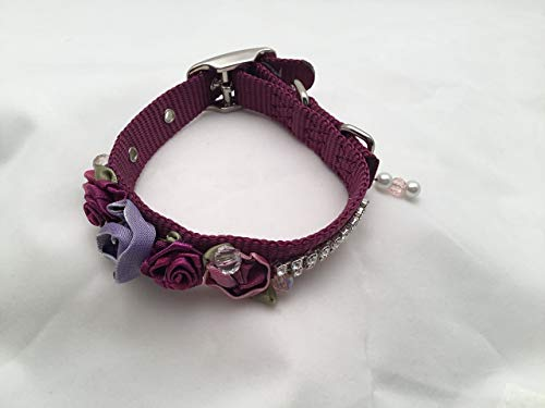 (Wine Colored Dog Collar with Silk Rosettes, Beads and Swarovski Crystals Embellishments for Special Occasions, Weddings, Birthdays, Holidays, Shopping, Photos.)