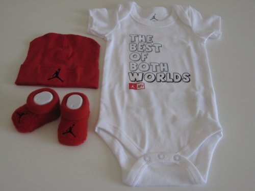 """Nike Jordan Infant New Born Baby Boy/Girl 0-6 Months 1 Lap/Shoulder Bosyduits, 1 Pair of Booties and 1 Cap With Jordan & """"The Best of Both Worlds"""" Sign Red/White 3 PCS Set New"""