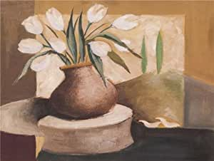 Perfect effect Canvas,the Best Price Art Decorative Prints on Canvas of oil painting 'White Tulips in the Pot', 10x13 inch/25x34 cm is best for Basement decor and Home decor and Gifts