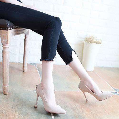 Puntata Delle Con Da Camoscio Scarpe Autunno Donna Scarpe Superficiale Tacchi Scarpe Tallone da Black Scarpe Moda 39 Papillon Alti KPHY 9Cm donna qX0U0p