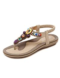 Summer Female Sandals Bohemia Flat with String Beads Large Size Beach Shoes