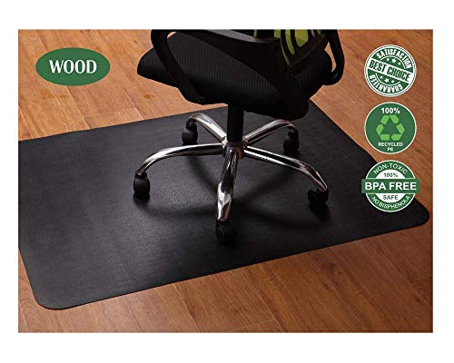 Office Chair Mat for Hardwood and Tile Floor, Black, Anti-Slip, Under the Desk Mat Best for Rolling Chair and Computer Desk, 47 x 35 Rectangular Non-Toxic and No BPA Plastic Protector, Not for Carpets (Best Chair Mat For Hardwood Floor)