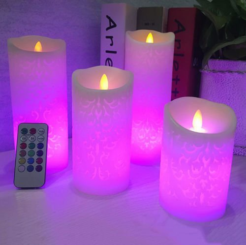 ELEOPTION LED Flameless Candles 7 Colors Electronic LED Fake Candle Lights Battery Operated with Remote Control Timer Outdoor Indoor Festive Wedding Decoration (3PCS, 7