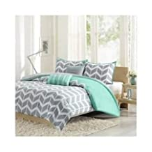 Modern Grey and White Chevron Stripes with Aqua Accents Comforter Bedding Set (twin/twin xl)