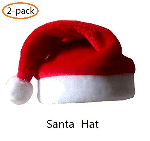 A-Smile @ Santa Hat,Red Plush Santa Claus Hat For Christmas Halloween Costume Or Decorations (38x28 cm),2-Pack