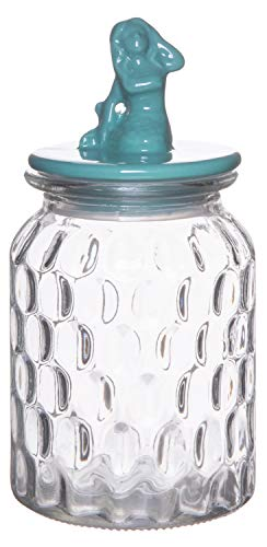 Red Co. Medium Food Storage Rain Drop Pattern Glass Jar Canister with Aqua Mermaid Shaped Ceramic Airtight Lid, 32.75 Ounces ()