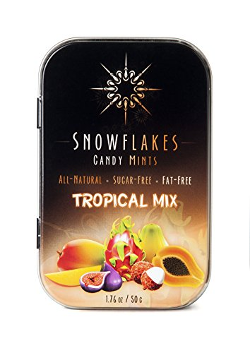Tropical Mix Xylitol Candy Chips - Snowflakes 50g Tin - Handcrafted with ONLY 2 Ingredients | Diabetic-friendly, Non-GMO, Vegan, GF & Kosher | Purest sugar-free candy in the world!