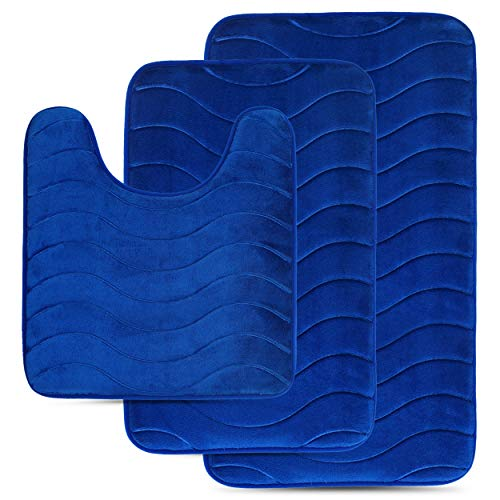 (Effiliv 3 Piece Bathroom Rugs Set - Memory Foam Non Slip Bath Mats, Royal Blue/Water sea)