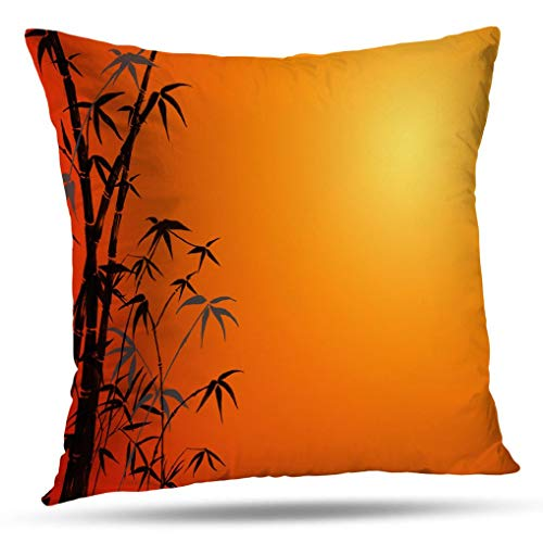 (WAYATO Pillow Case Cotton Polyester Blend Throw Pillow Covers Asian Inspired Bamboo Mountain View Sunset Bed Home Decor Cushion Cover 18X18 Inch)