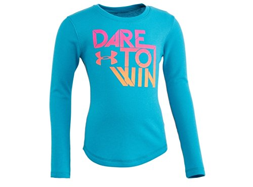 Dare S/s Tee - Under Armour Child Girls UA Dare To Win Waffle L/S Shirt Turquoise/Pink/Orange (Child 5)