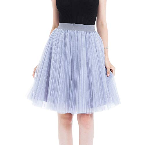 Women Princess Tulle Skirts, Sharemen Girl 4 Layers Mesh Pleated Bubble Skirt Solid Color High Waist Swing Gauze Mid-Calf Skirt(Gray,One Size)