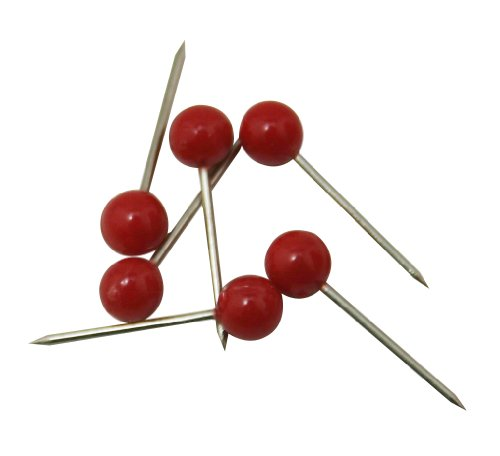eter Small Head Map Tacks Color Red Pack of 300 ()