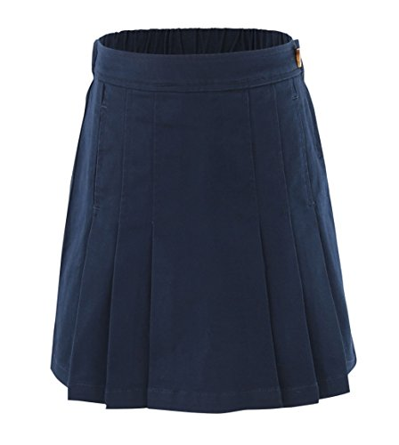 Navy Twill Skirt (Bienzoe Girl's Cotton Stretchy Twill School Uniforms Pocket Pleated Skirt Navy Size 14)