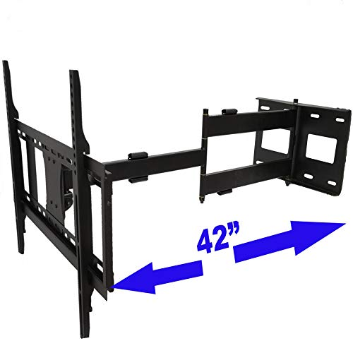 Longer Extension TV Mount Full Motion Wall Bracket with 42 inch Long Arm Articulating TV Wall Mount for 37 to 80 Inch Flat/Curve TVs, VESA 600x400mm Compatible, Holds up to 100 lbs by HY Bracket