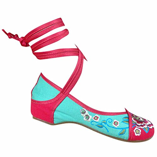 hibote Womens Embroidery Canvas Mary Jane Ladies Lightweight Strap Summer Shoes Red