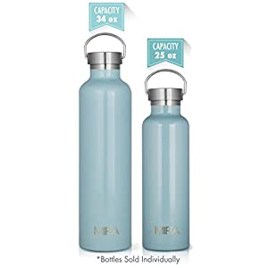 MIRA 34 oz Stainless Steel Vacuum Insulated Water Bottle | Keeps Your Drink Cold for 24 hours & Hot for 12 hours, Does Not Sweat | Large Capacity Sports Water Bottle with 2 Lids | 1 liter Pearl Blue