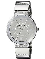 Anne Klein Womens AK/2947SMSV Swarovski Crystal Accented Silver-Tone Bracelet Watch