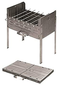 Books.And.More Folding Mangal Stainless Steel Charcoal Grill Satay Grill, Portable BBQ Grill, Yakitori Grill, Kebab Grill, Shish Kebab, Shashlik, Spiedini on The Skewer
