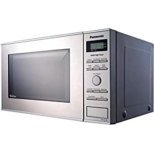 Microwave Oven Compact Countertop Panasonic Electric Stainless Steel 950 Watt 0.8 cu. ft. Inverter Cookware With Free Pot Holders