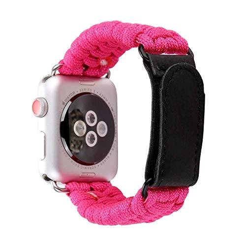 Angeland - Pulsera de Nailon Trenzado para Exteriores con Cierre de Velcro de Piel Compatible con Apple Watch Series 4, 3, 2,...