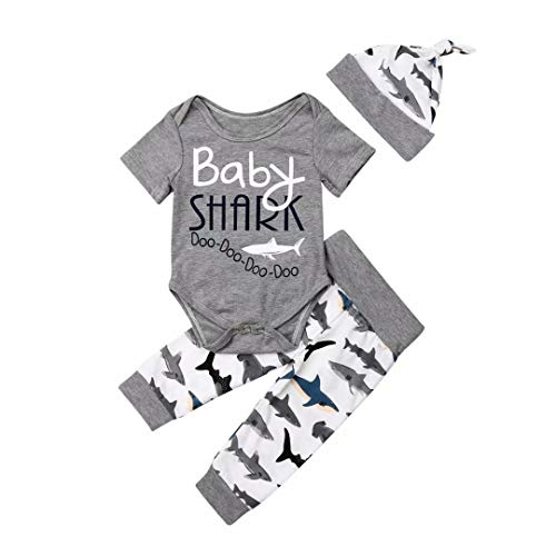 Newborn Baby Boys Girls 3Pcs Outfits Set Baby Shark Romper Bodysuit Tops Pant Hat 0-6 Months/Size 70 Gray (Shark Beanie Baby)