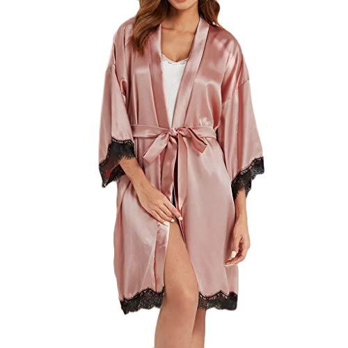 QueenMM Women's Super Soft Satin Robe Bridal Dressing Gown Wedding Bride Bridesmaid Kimono Sleepwear Pink