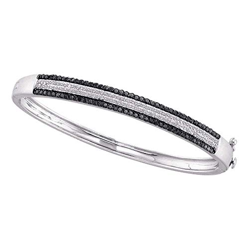 - Jewel Tie Solid 14k White Gold Round Black Pave-set Diamond Bangle Bracelet 1-3/8 Cttw.