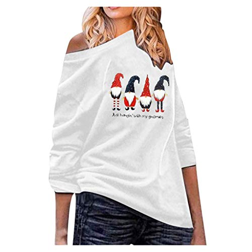 Women's Christmas Casual Long Sleeve Off Shoulder Loose Oversized Pullover Sweatshirt T-Shirt Tops Blouses (S-5XL)
