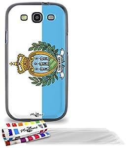 """Carcasa Flexible Ultra-Slim SAMSUNG GALAXY S3 / I9300 de exclusivo motivo [Bandera San Marino] [Negra] de MUZZANO  + 3 Pelliculas de Pantalla """"UltraClear"""" + ESTILETE y PAÑO MUZZANO REGALADOS - La Protección Antigolpes ULTIMA, ELEGANTE Y DURADERA para su SAMSUNG GALAXY S3 / I9300"""