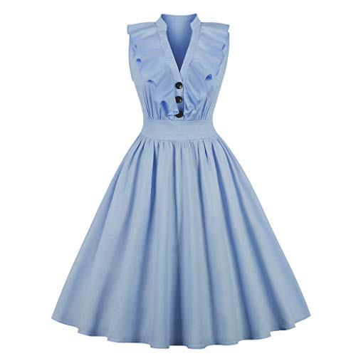 Wellwits Women's Ruffle Plunge V Neck Collared 1940s Vintage Dress Blue M ()