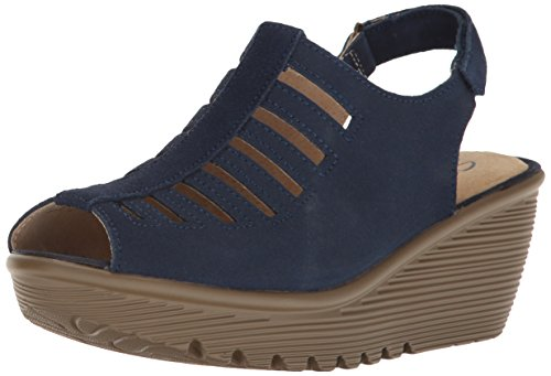 Skechers Cali Women's Parallel-Trapezoid Wedge Sandal, navy, 7 M US