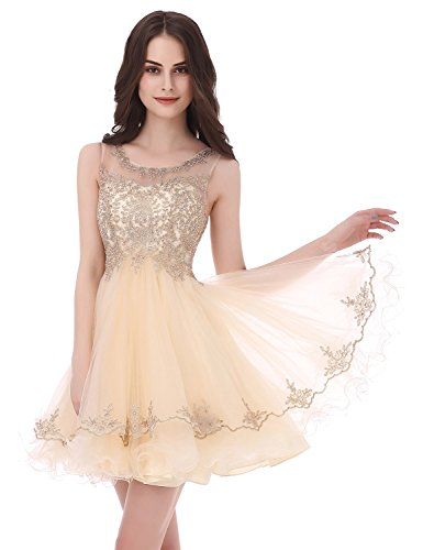 A-line Sequin - Clearbridal Sheer Neck Prom Homecoming Dresses 2017 Short for Juniors A Line Beaded Lace Sequins Party Dress Ivory