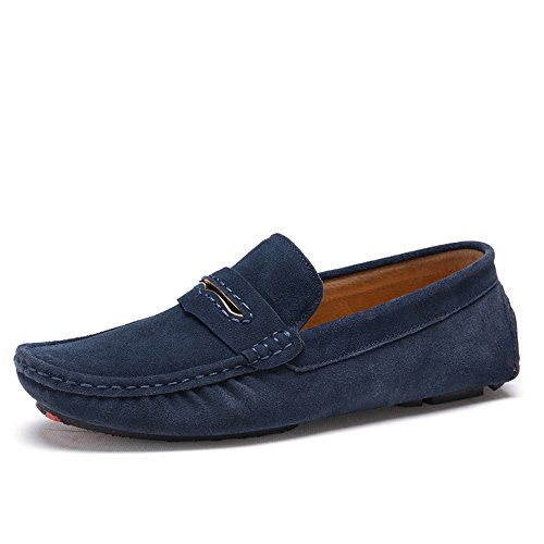SUNROLAN Mens Casual Suede Loafers Slip On Flat Moccasins Penny Loafer Casual Boat Driving Shoes 0057 Navy Blue