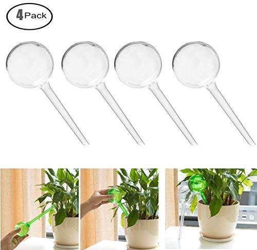 obes Small Plant Automatic Self Watering PVC Bulbs Ball,Pack of 4 (Clear) ()