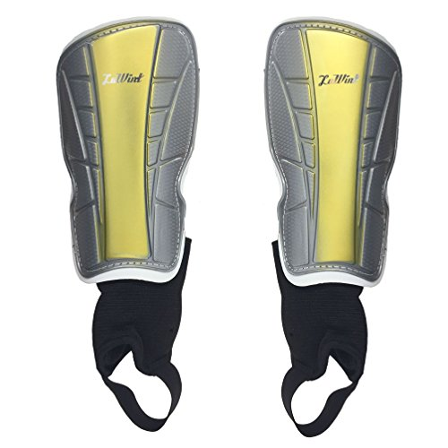 Luwint Youth Soccer Padded Shin Guards - with Ankle Sleeves Protective Gear, Middle, 1 Pair