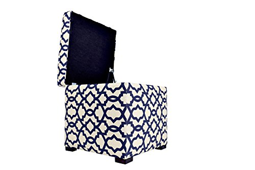 MJL Furniture Designs Tami Collection Fabric Upholstered Lift Top Storage Foot Rest Cube Ottoman, Sheffield Series, Indigo (Cube Ottoman Upholstered)