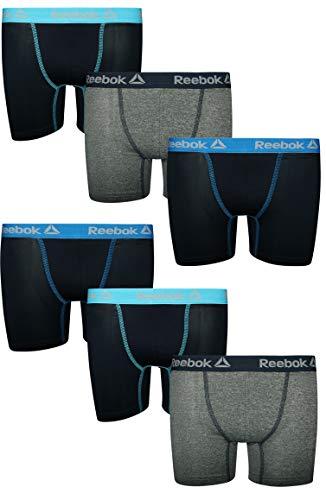 Reebok Boys 6 Pack Performance Boxer Briefs, Navy/Grey/Navy, Small (6/7)'