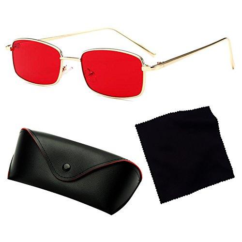 Mujeres Sol Cuadradas Sol Hombres C3 Marco de Metal Gafas Negras de Gafas juqilu para Rectángulo Pequeñas UV400 de wqU7ZnqEFS