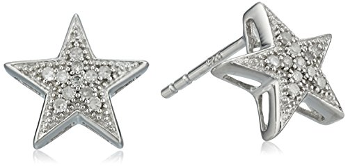 Sterling Silver Diamond Star Earrings (1/10 cttw, J-K Color, I2-I3 Clarity)