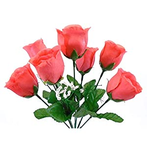 "3 Bushes Coral Rose Buds Artificial Silk Flowers 12"" Bouquet 7-898 CL 20"