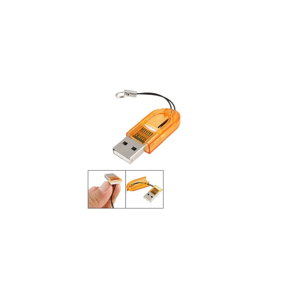 Gino Orange Plastic Thumb Shape Shell T Flash TF Memory Card Mini Reader