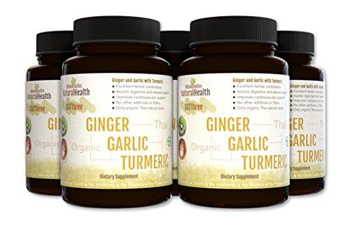 Botaniceutics GG T – Organic Ginger, Garlic and Turmeric – 450 Capsules – 5 bottle Pack – 500 mg – Circulatory health from natural ginger, turmeric curcumin and garlic allium.