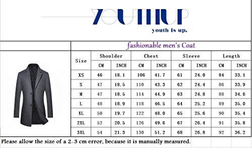 Manteau Homme Hiver Chaud Long Manteau en Laine Trench Coat Mode Veste Longue Mince Classique Blazer Outwear