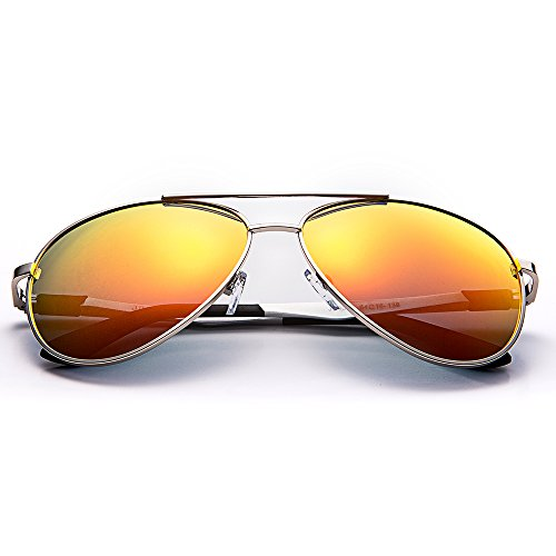 Dakingland JOGAL Premium Full Mirrored Aviator Sunglasses w/ Flash Mirror Lens Uv400 (Silver frame, Red lens)