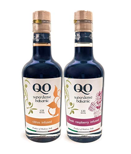 (QO Gourmet Flavored Italian Aged Thick Balsamic Vinegar of Modena Gift Set : Citrus & Raspberry | High Density Infused Vinegar | Aceto Balsamico | Produced and Bottled in Italy | 8.5 Fl.oz 250 ml)