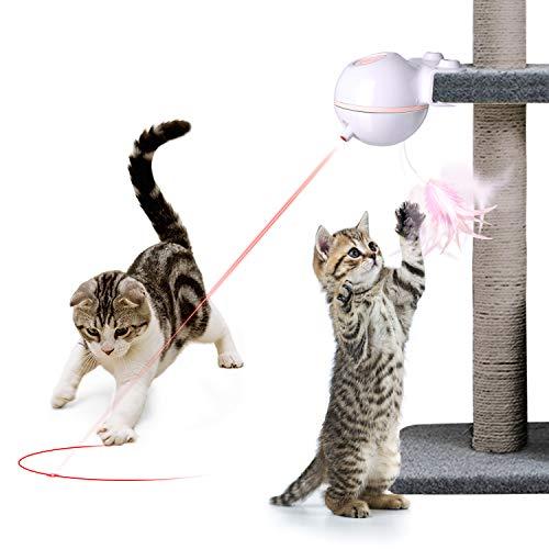 Nice Dream Katzen Federspielzeug, 360° Drehung Elektrisch Katzenspielzeug Federstab Intelligenzspielzeug Interaktives…