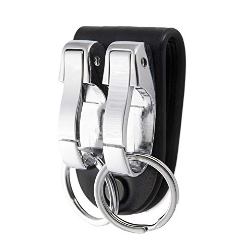 LGNL Leather Belt Loop Keychain with 2 Detachable Clips&Key Ring Belt Key Ring Holder Belt Key Chain