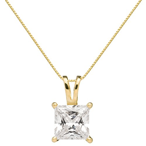14K Solid Yellow Gold Princess Cut Cubic Zirconia Solitaire Pendant Necklace (2 Carat), 16 inch .50mm Box Link Chain, Gift Box by Everyday Elegance Jewelry (Image #10)