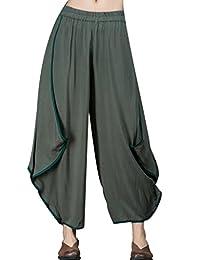 JIQIUGUER Women's Elastic Mid-Wiast Ethnic Baggy Harem Linen Pants