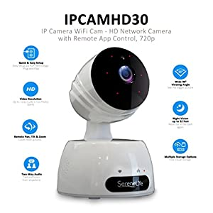 SereneLife Indoor Wireless IP Camera - HD 720p Network Security Surveillance Home Monitoring w/ Motion Detection, Night Vision, PTZ, 2 Way Audio, iPhone Android Mobile App - PC WiFi Access - IPCAMHD30 by Sound Around